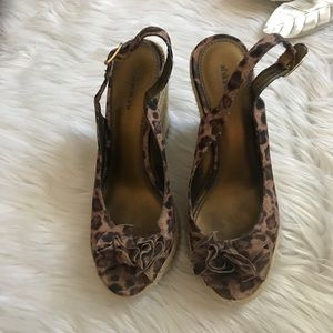 Xhiliration Jaguar Print Peep Toe Wedges